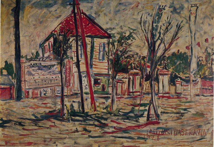 夏の遊園地 1928年 油彩、カンヴァス 112.0×163.0cm 『放浪の天才画家長谷川利行』展図録より