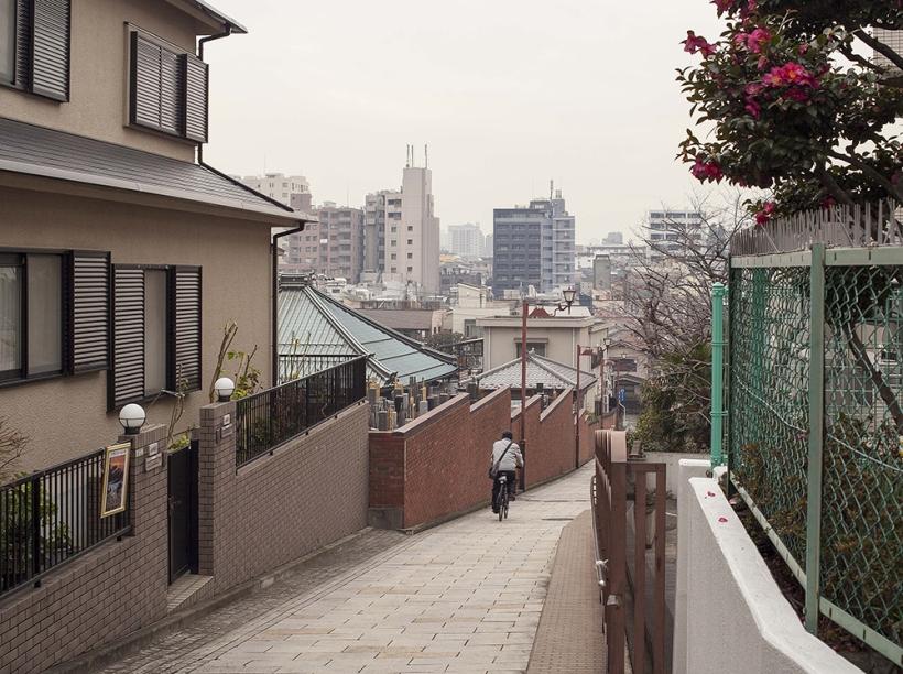 2014年1月25日 日暮里富士見坂より望む黒いビル(福信館)