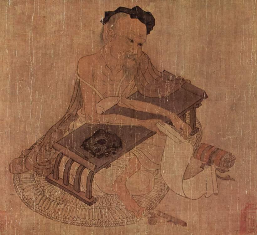 絹本著色伏生授経図 伝王維筆 唐時代 大阪市立美術館蔵 25.4×44.7 絹本着色 wikipediaによる