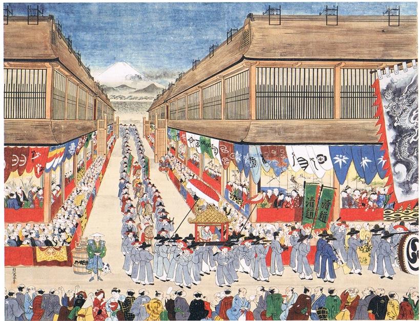 羽川藤永「朝鮮通信使来朝図」神戸市立博物館蔵『富士山百画』より