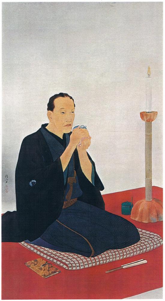 鏑木清方「三遊亭円朝像」1930年 138.5×76.0『愛蔵版日本の名画9』より