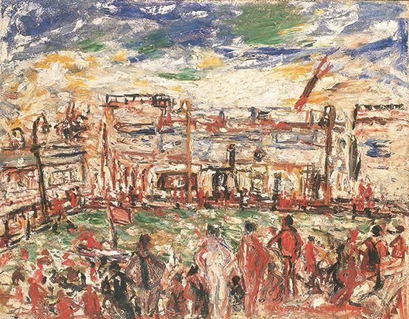 水泳場(1932年)油彩、カンヴァス 90.9×116.7cm 板橋区立美術館蔵