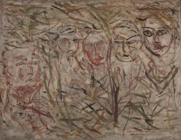 白い背景の人物(1937年)油彩、カンヴァス 90.0×115.8cm 個人蔵