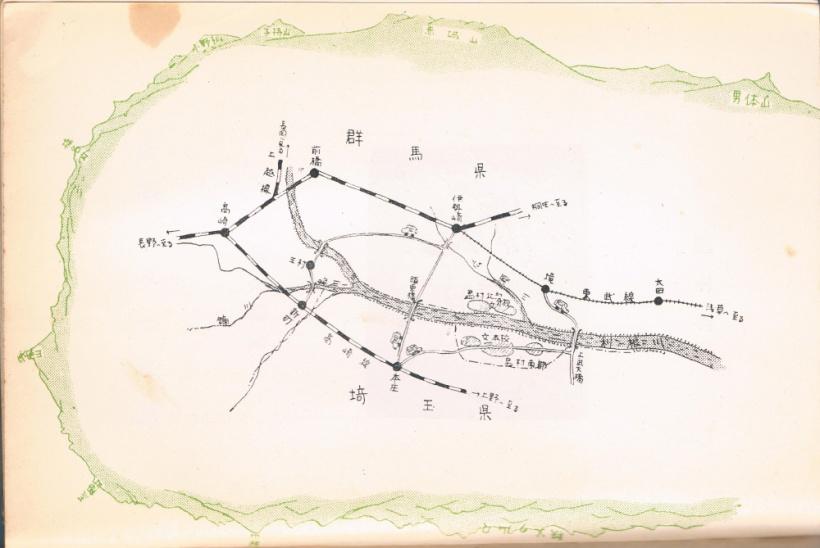 『学校づくりの記』挿図-島村周辺地図及び山岳眺望図