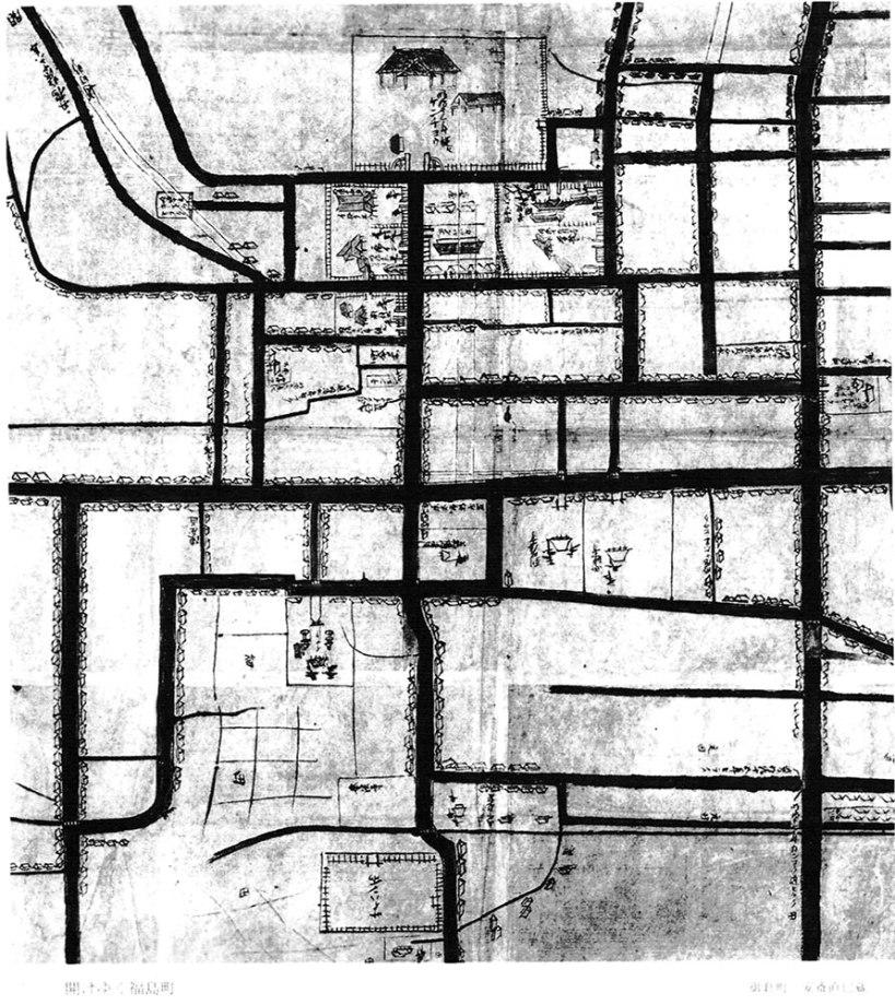 福島町絵図-明治初期『図説福島市史』より-上方に県庁、その右下方にカツパン所